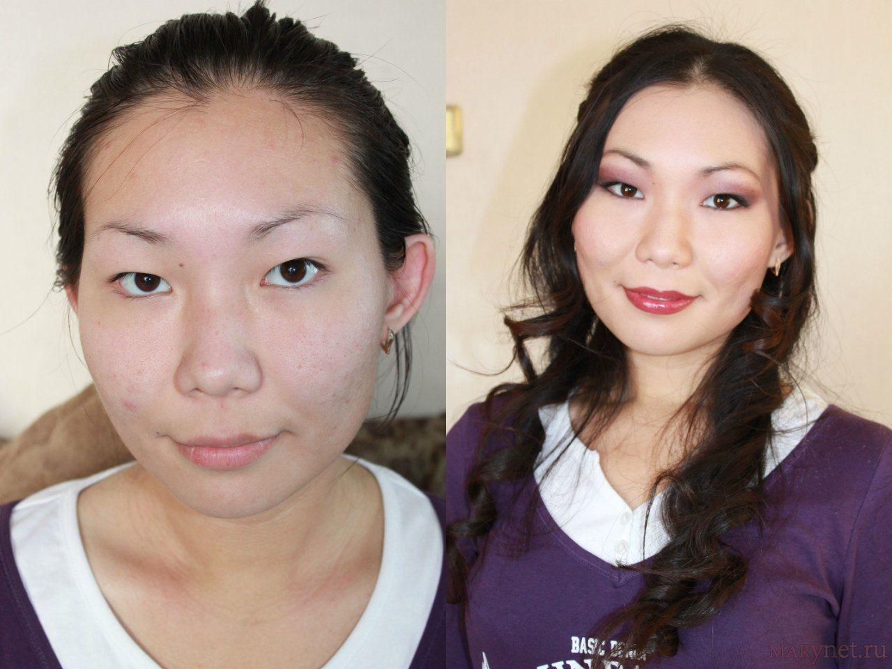 Макияж глаза фото до и после